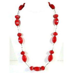 Donna Dressler Sterling Silver Red Glass Necklace